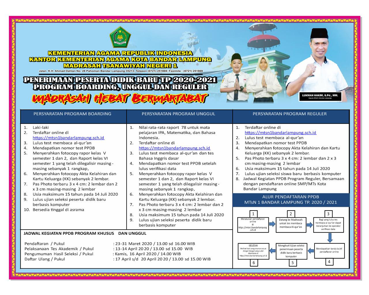Penerimaan Peserta Didik Baru Kelas Unggul di MTsN 1 Bandar Lampung TP 2020/2021