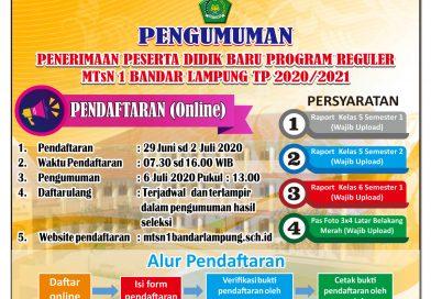 PERUBAHAN Pengumuman Penerimaan Peserta Didik Baru Program Reguler MTsN 1 Bandar Lampung Tahun Pelajaran 2020/2021